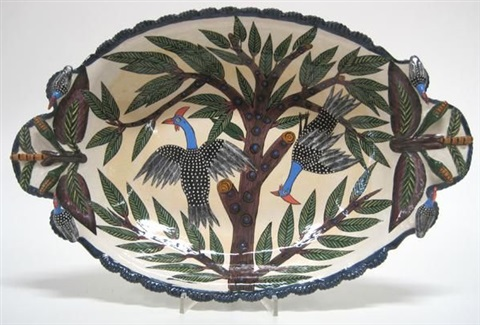two handled dish painted by phumelele by ardmore ceramics