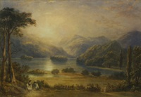 loch scene at dusk with a couple seated by the water's edge by copley fielding