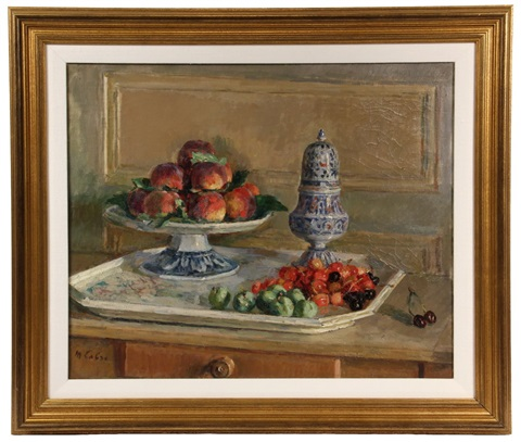 still life with fruit compote muffineer by maurice lobre