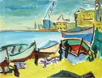 ships at port by shimshon holzman