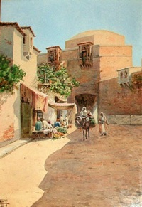 north african street scene (+ another; pair) by vittorio rappini