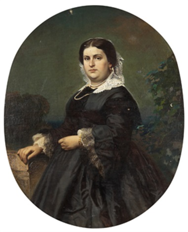 portrait of a lady in a black dress by nikolai semionovich shustov