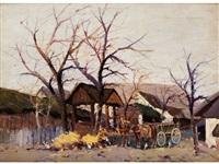 pferdekarren in einem bauerndorf unter kahlen, jungen bäumen by wilhelm sprenger