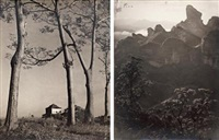 残破的更楼、丹霞叠嶂 (landscape/watchman lodge) (2 works; various sizes) by xue zijiang