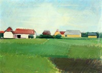 summer landscape with farms by søren hjorth-nielsen