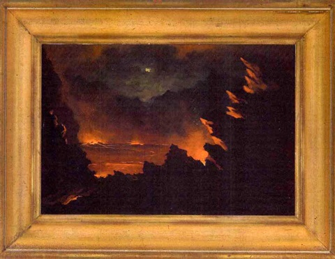 halemaumau fire pit of kilauea volcano erupting at night by jules tavernier