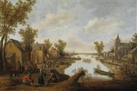 abendstimmung in einem an einem kanal gelegenen bauerndorf by cornelis droochsloot
