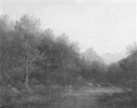 schattiger waldbach vor dem hintergrund der alpen by noel de freville