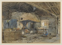 cottage interior with a girl seated beside a doorway by joseph nash