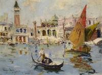 venedig - blick vom bacino auf die piazzetta mit markusdom und dogenpalast by rudolph negely