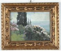 paesaggio con fiori e cipresso by gino piccioni