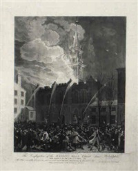 the conflagration of the masonic hall, chestnut street, philadelphia by john hill
