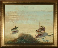 coastal scenery with fishing boats pulled up on the beach by gunnar bundgard