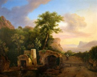 figures by a bridge with a ruin, woodland and a coastal landscape beyond by franz xaver von hofstetten