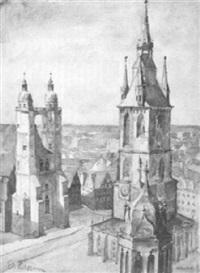 marktplatz von halle an der saale by edith fleissner