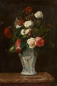stillleben mit rosen und nelken in einer vase by antoine vollon