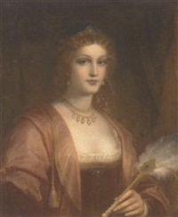 portrait of a young beauty wearing a tiara and pearl necklace, holding a fan by h. hofman
