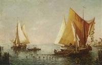 fischerboote in der lagune by e. leroy