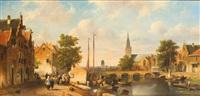 belebte holländische altstadt am kanal (alt-rotterdam?) by adrianus david hilleveld
