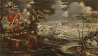 landschaft mit dem opfer isaaks (+ landschaft mit jakob und dem brennenden dornbusch; pair) by paolo fiammingo dei franceschi