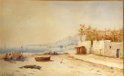 continental coastal scene with boats by e bouché