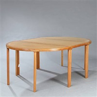 dining table with two d-ends and middle section by arne karlsen