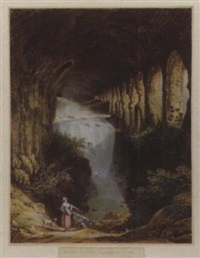 cascate in ville mecenate a tivoli by jean-baptiste-louis hubert