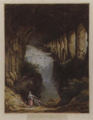 cascate in ville mecenate a tivoli by jean baptiste louis hubert