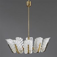 chandelier with ten-armed brass frame by carl fagerlund