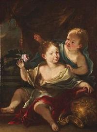 bildnis zweier kinder vor einem baldachin by jürgen ovens