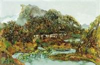 秋溪图 (stream in autumn) by hong ling
