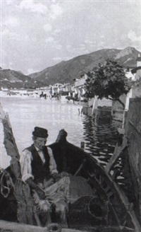 italienischer fischer im nachen mit netzen by cesare viazzi