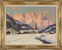 winterabend bei reith/kitzbühel mit kaisergebirge by erwin kettemann