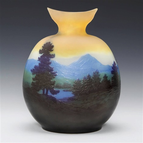 lake scenery vase by émile gallé