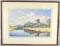 landscapes with churches (pair) by john ernest aitken