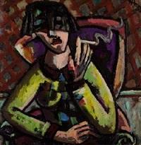 porträt einer frau mit zigarette by herbert helmert