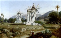 südländische landschaft mit windmühlen by adolphe-paul-emile balfourier
