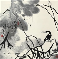 听雨图 (egret and lotus) by cui ruilu