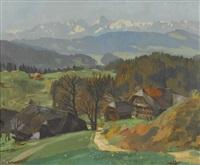 emmentaler landschaft mit alpenpanorama by hans gartmeier