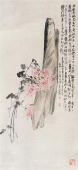 菊石图 镜片 设色纸本 by wu changshuo