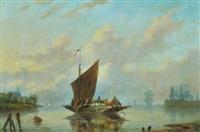 fährboot mit bauern und vieh beim übersetzen über die flussmündung by louis de koning