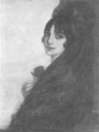 porträt einer jungen frau mit rose by jose llasera y diaz