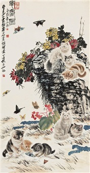 耄耋图 (cat and butterfly) by qi ziru, cao kejia and qi baishi