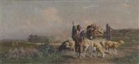 schäfer mit seiner herde by alfredo de simoni