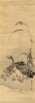 zwei wildgänse an einem ufer unter blühendem schilf by kishi ganryo