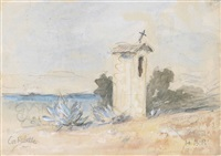 on the riviera (illustrated) (+ a roadside shrine at costabelle; 2 works) by hercules brabazon brabazon