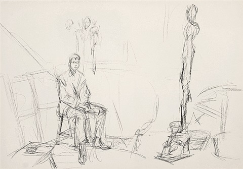 seated man and sculpture by alberto giacometti