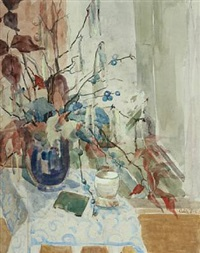 still life with branches in a vase by adèle peschcke-køedt