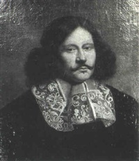portrait of a gentleman, bust-length, wearing a black    costume by gilbert jackson