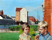 summerday in copenhagen with two children outside hamlets gade 19 by victor brockdorff